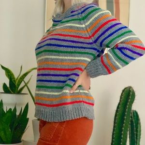 Vintage 70s rainbow striped chunky knit sweater S